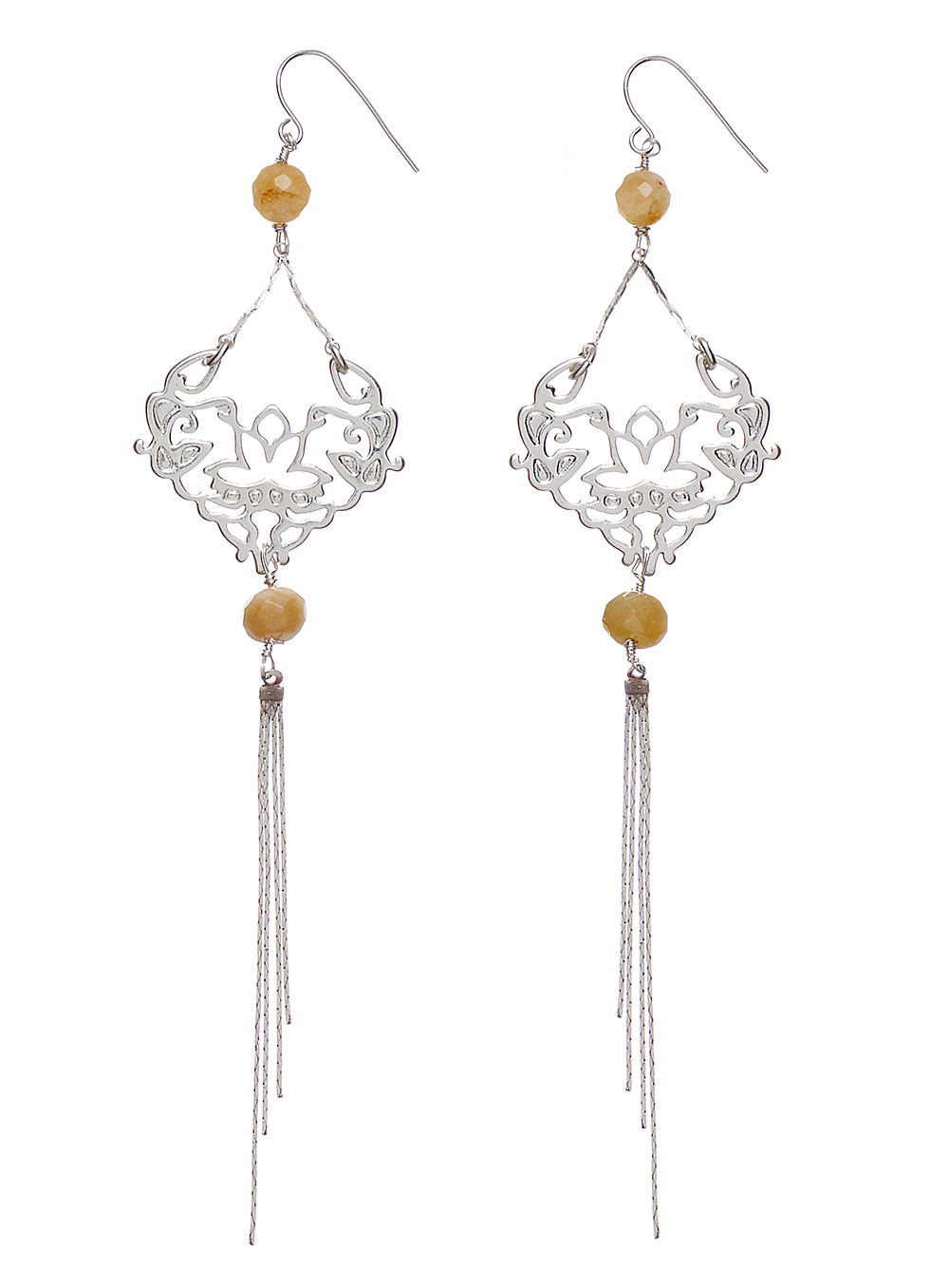 PILGRIM - Oriental - Long Drop Earrings - Silver Plate & Caramel Quartz BNWT