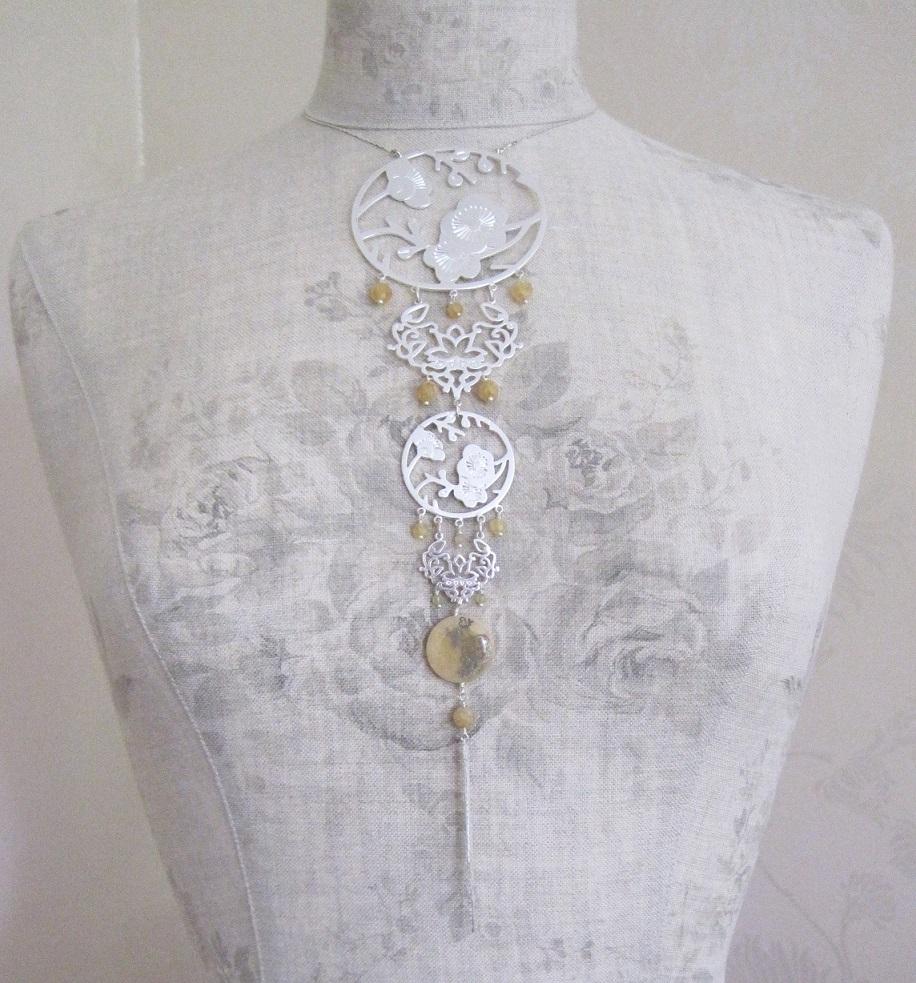PILGRIM - Oriental - Elaborate Pendant Necklace - Silver Plate/Caramel Quartz BNWT