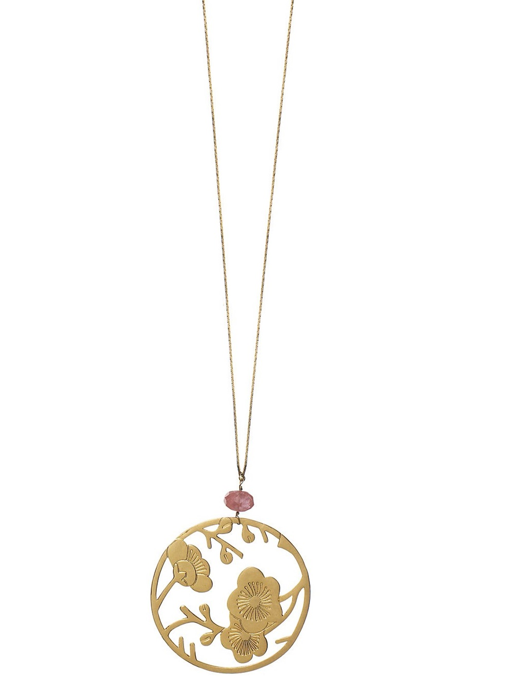 PILGRIM - Oriental - Pendant Necklace - Gold Plate & Cherry Quartz BNWT
