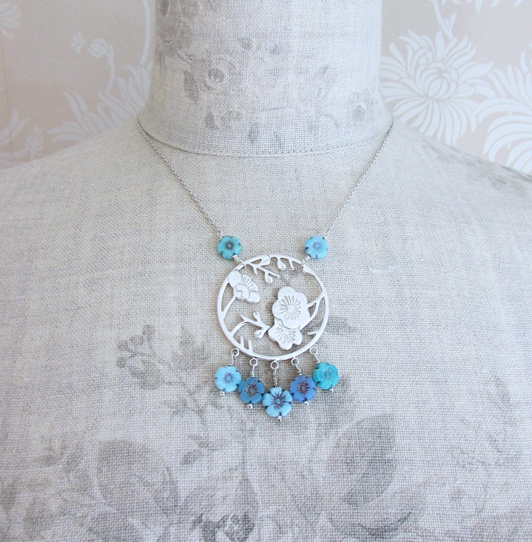 PILGRIM - Oriental - Pendant Necklace - Silver Plate & Blue Glass Flowers BNWT