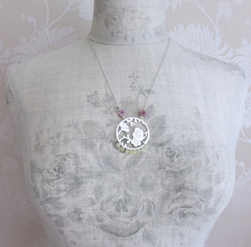 PILGRIM - Oriental - Pendant Necklace - Silver Plate & Pink Glass Flowers & Yellow Quartz BNWT