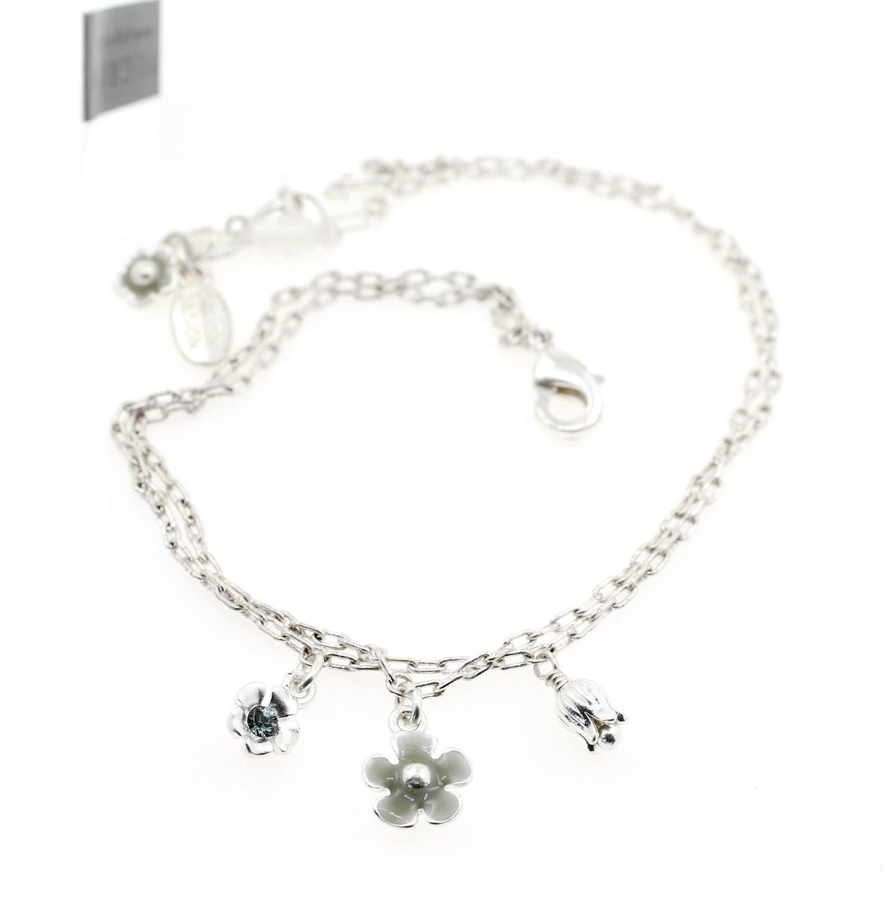 PILGRIM - Bell Flower - Ankle Chain - Silver/Blue BNWT