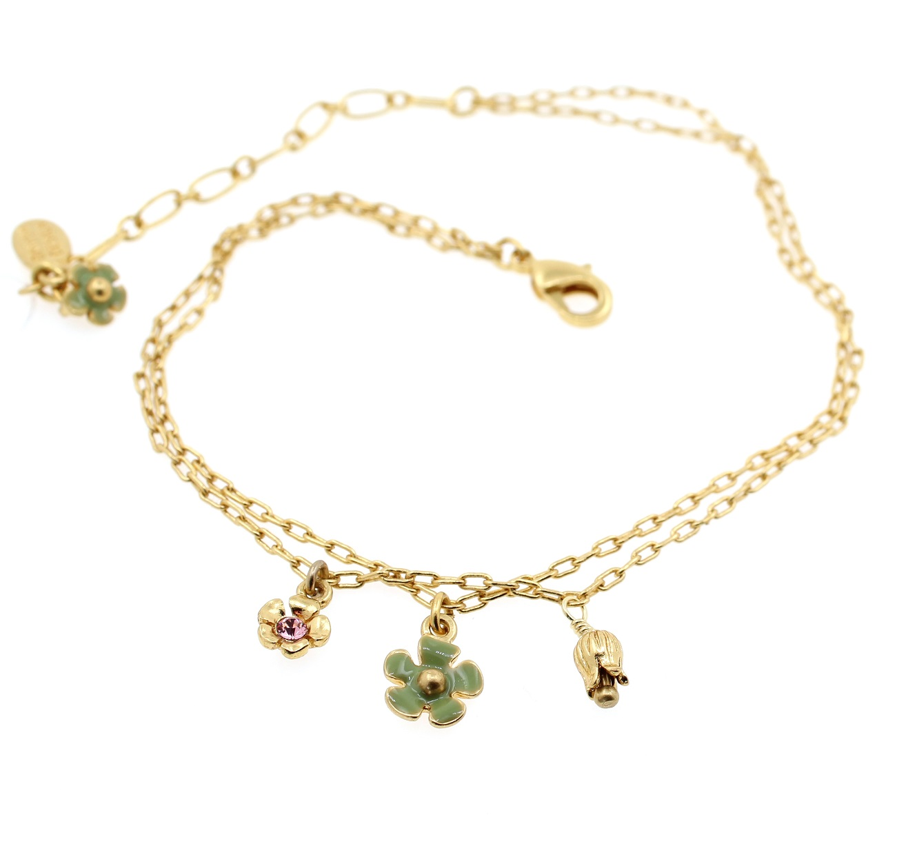 PILGRIM - Bell Flower - Ankle Chain - Gold/Green & Pink BNWT