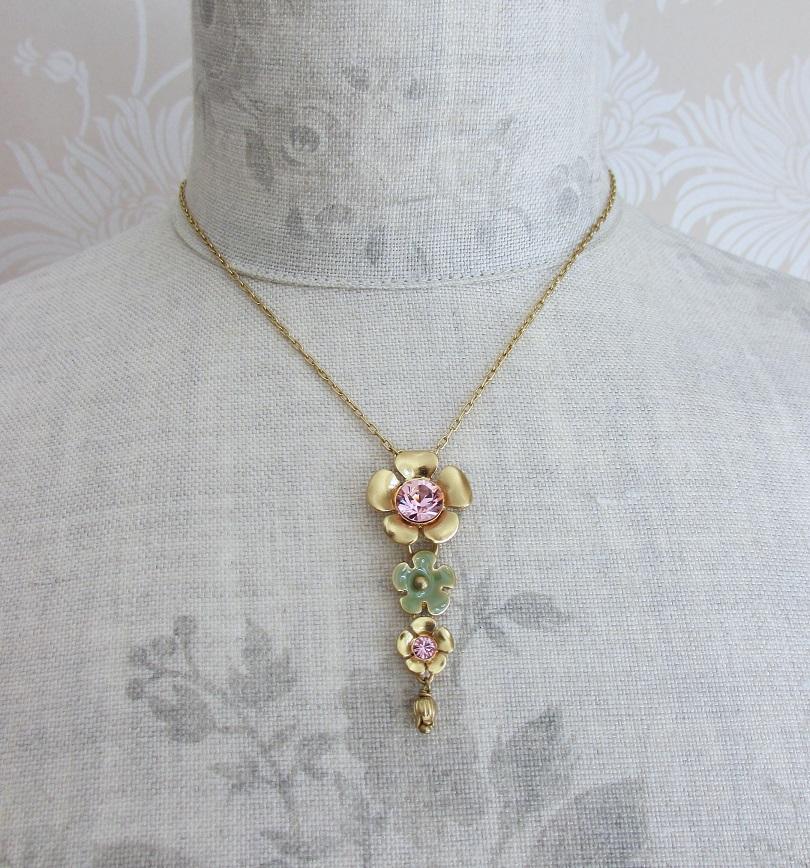 PILGRIM - Bell Flower - 4 Flower Pendant Necklace - Gold Plate/Green & Pink BNWT