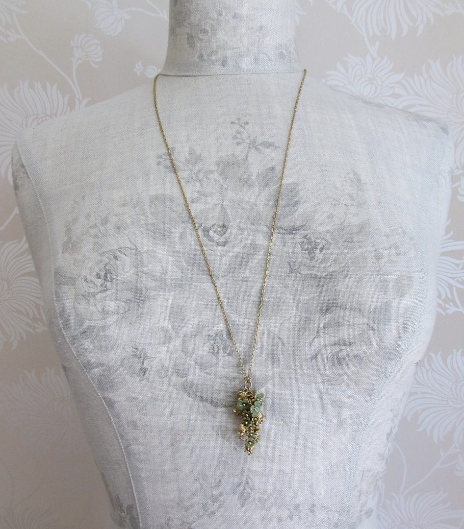 PILGRIM - Bell Flower - Bell Flower Cluster Long Necklace - Gold Plate/Sage Green BNWT