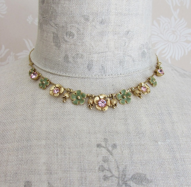 PILGRIM - Bell Flower All-Round Necklace - Gold/Green & Pink BNWT