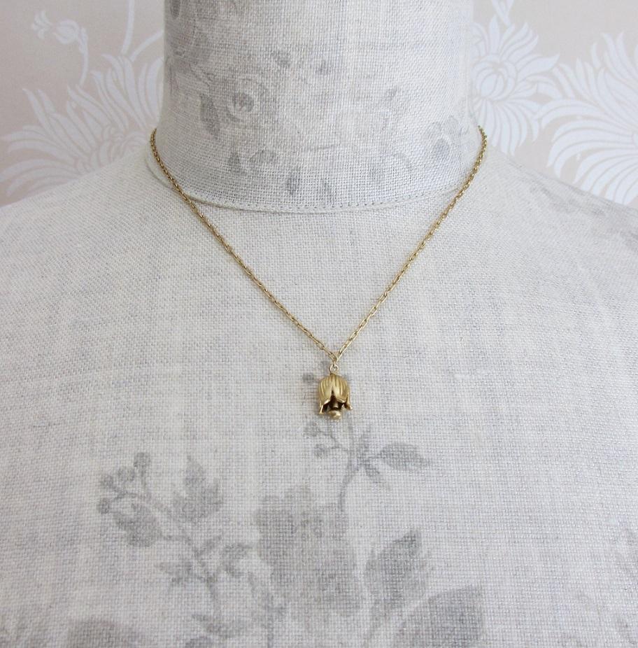 PILGRIM - Bell Flower - Single Bell Flower Necklace - Gold Plate BNWT