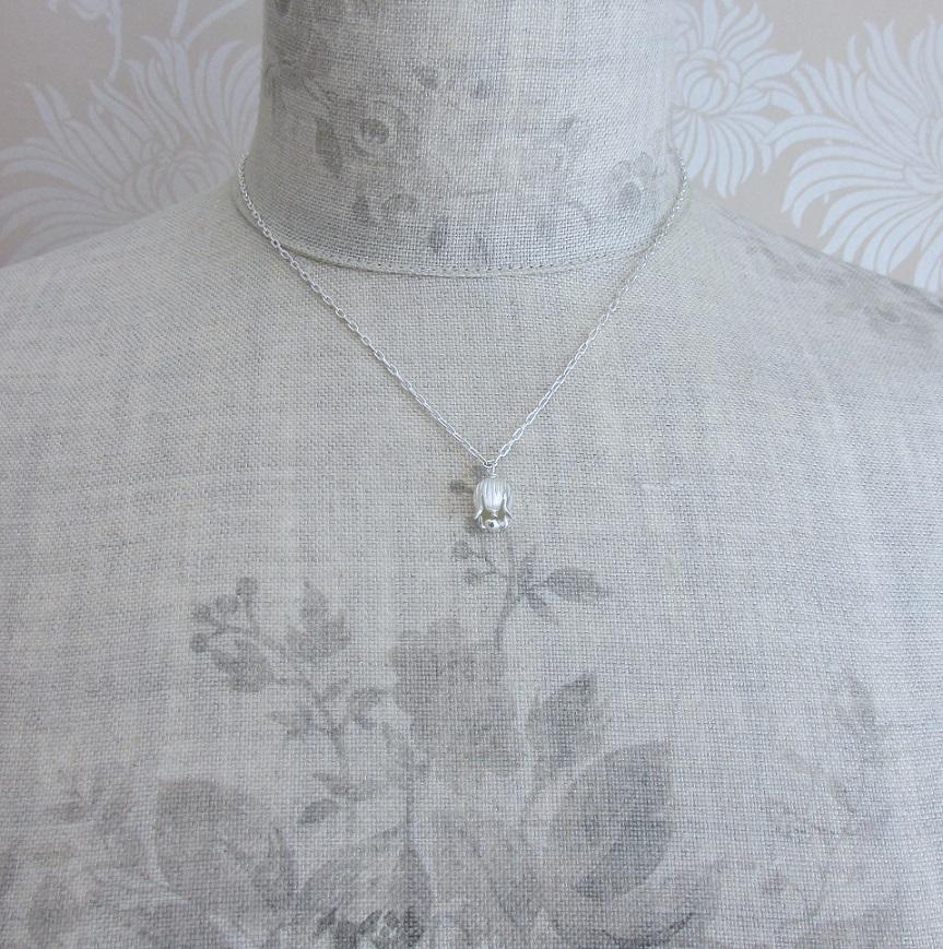 PILGRIM - Bell Flower - Single Bell Flower Necklace - Silver Plate BNWT