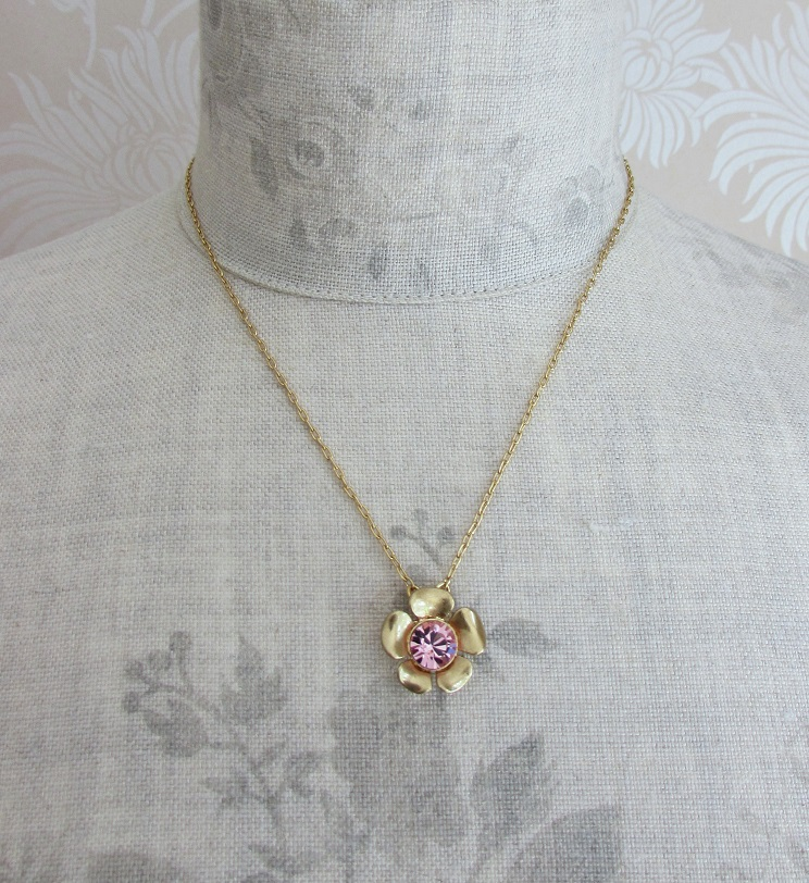 PILGRIM - Bell Flower - Single Flower Crystal Centre  Necklace -Gold Plate/Pink BNWT