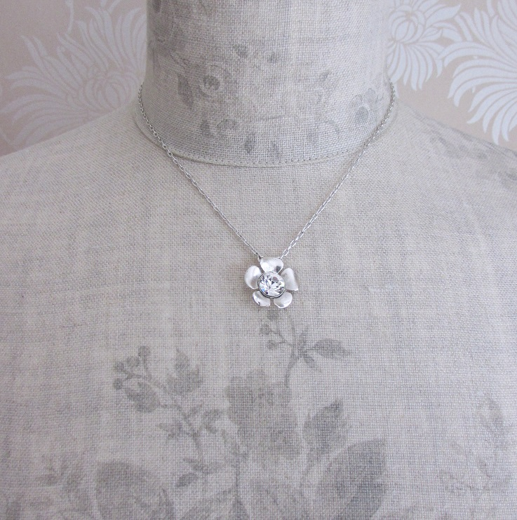 PILGRIM - Bell Flower - Single Flower Crystal Centre  Necklace - Silver Plate/Clear BNWT