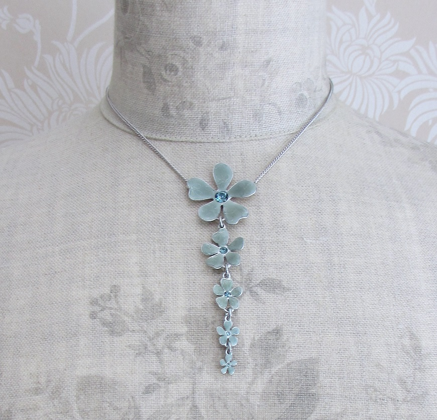 PILGRIM - Blossom - 5 Flower Pendant Necklace - Grey Blue/Silver Plate BNWT