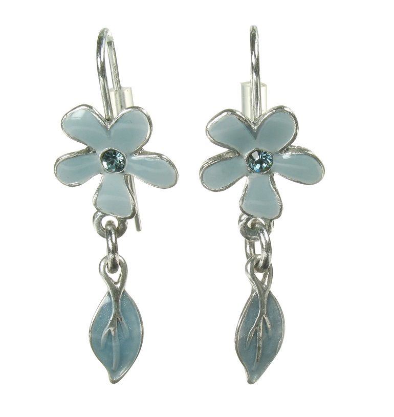 PILGRIM - Blossom - Flower & Leaf Drop Earrings - Grey Blue/Silver Plate BNWOT