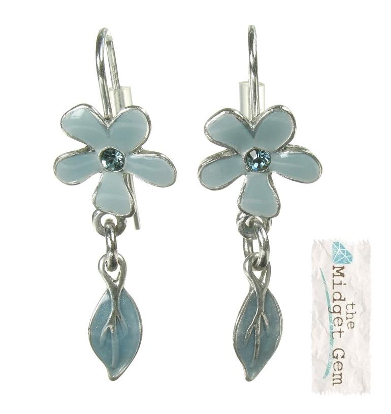 PILGRIM - Blossom - Flower & Leaf Drop Earrings - Grey Blue/Silver Plate BNWOT