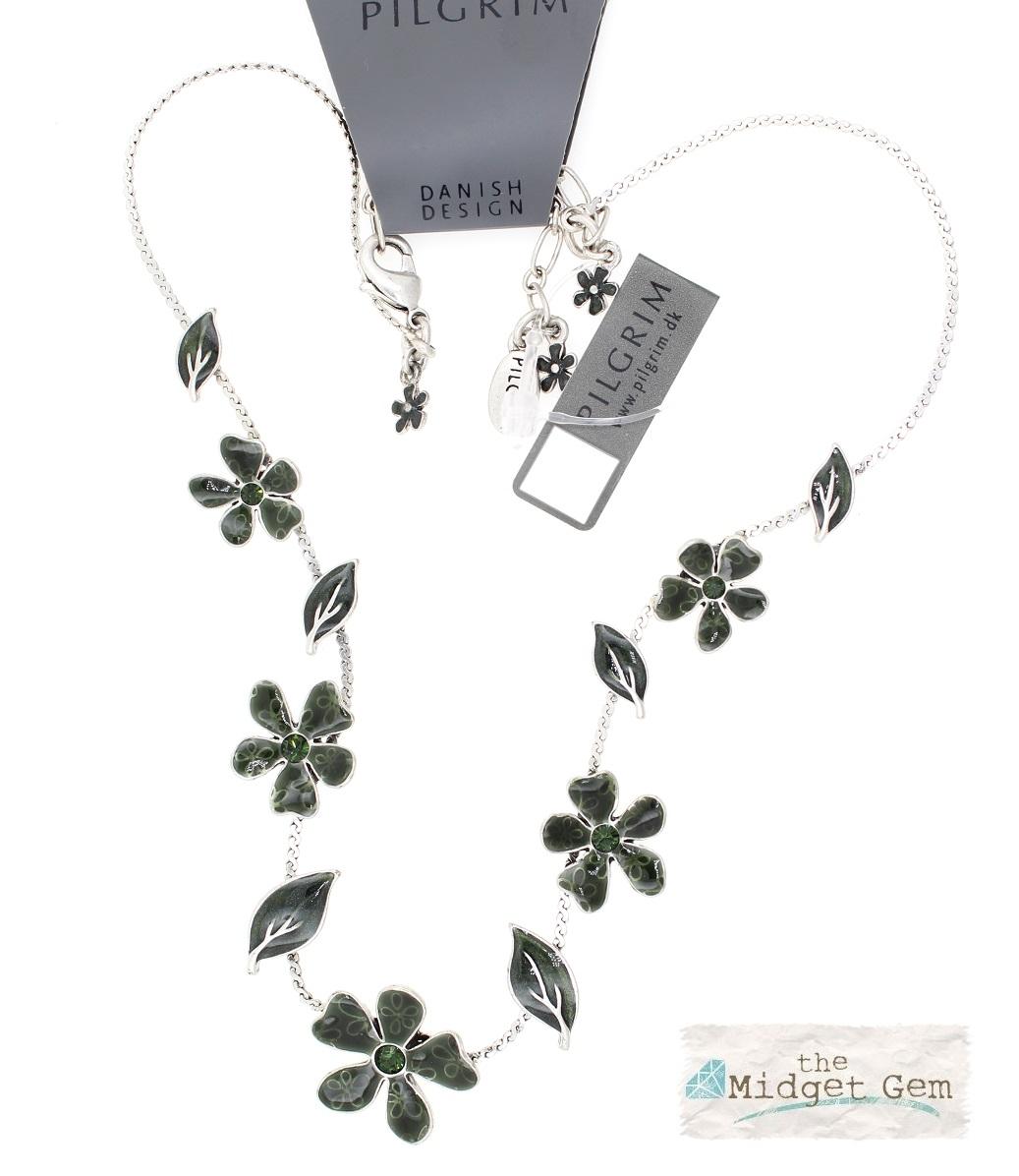 PILGRIM - Blossom - Single Strand Necklace - Silver/Teal Green BNWT