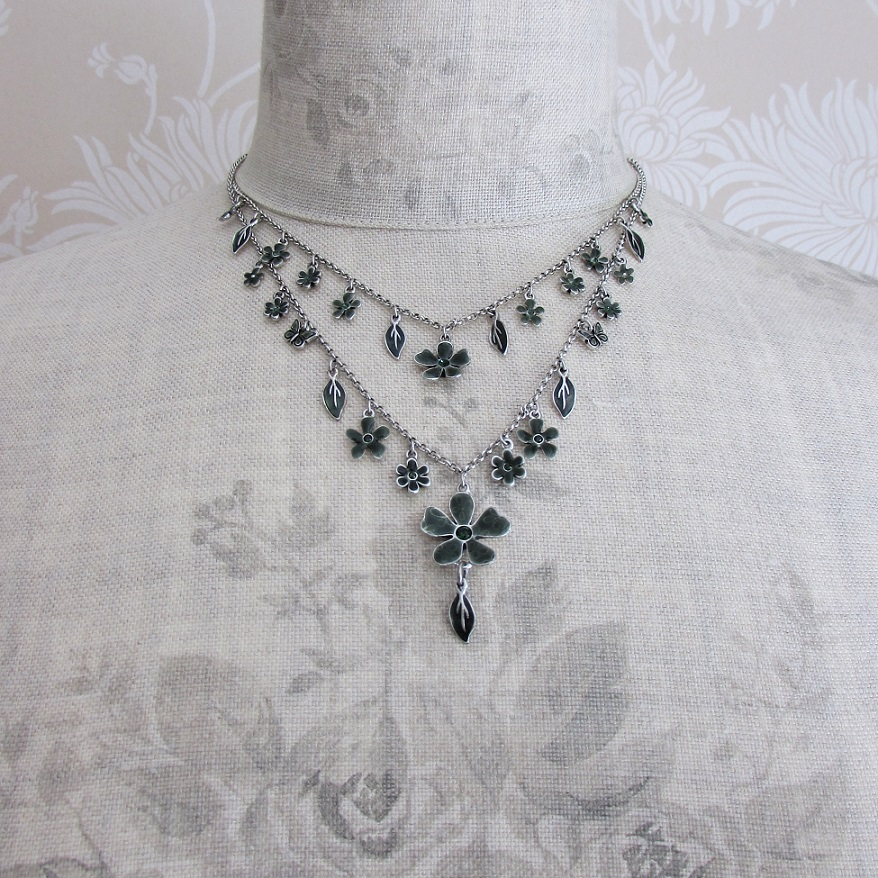 PILGRIM - Blossom - Double Strand Necklace - Silver/Teal Green BNWT
