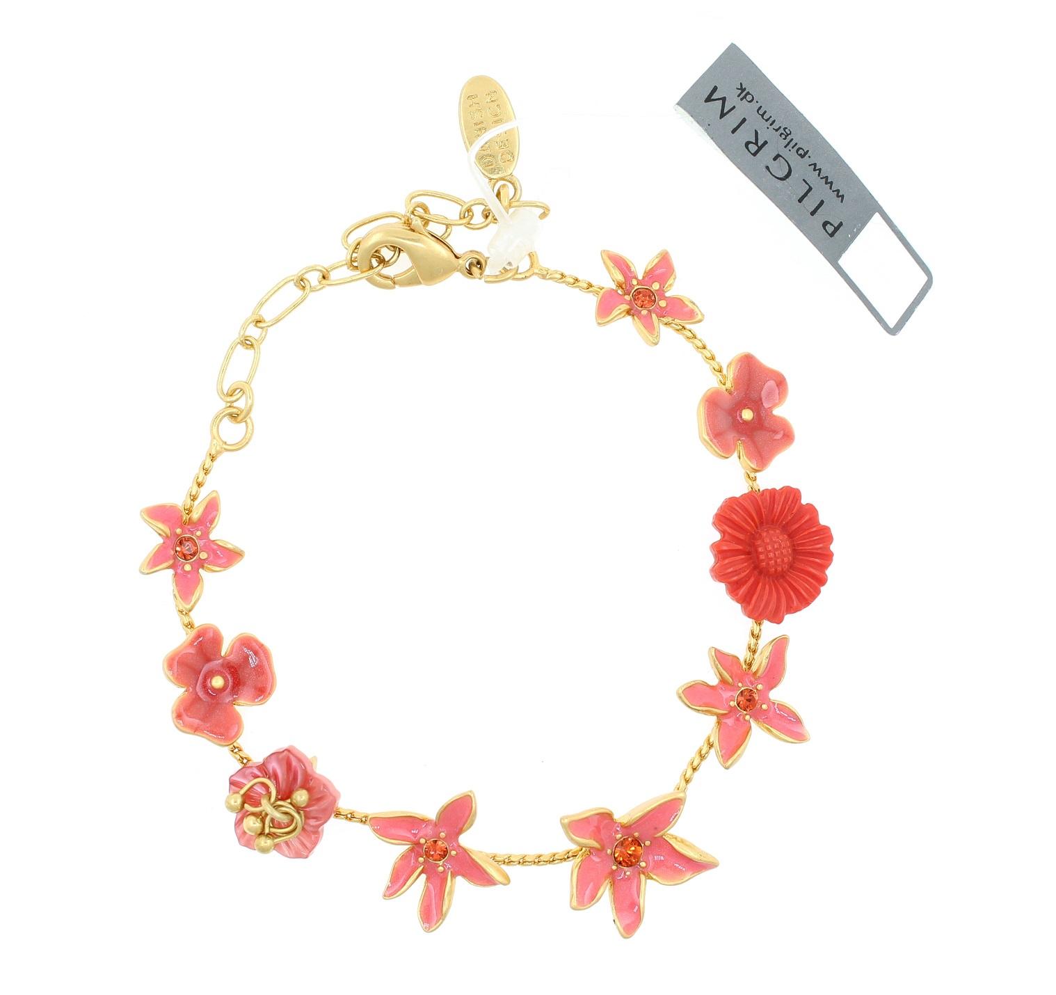 PILGRIM - Floral Delicacy - Floral Bracelet - Gold Plate/Coral BNWT