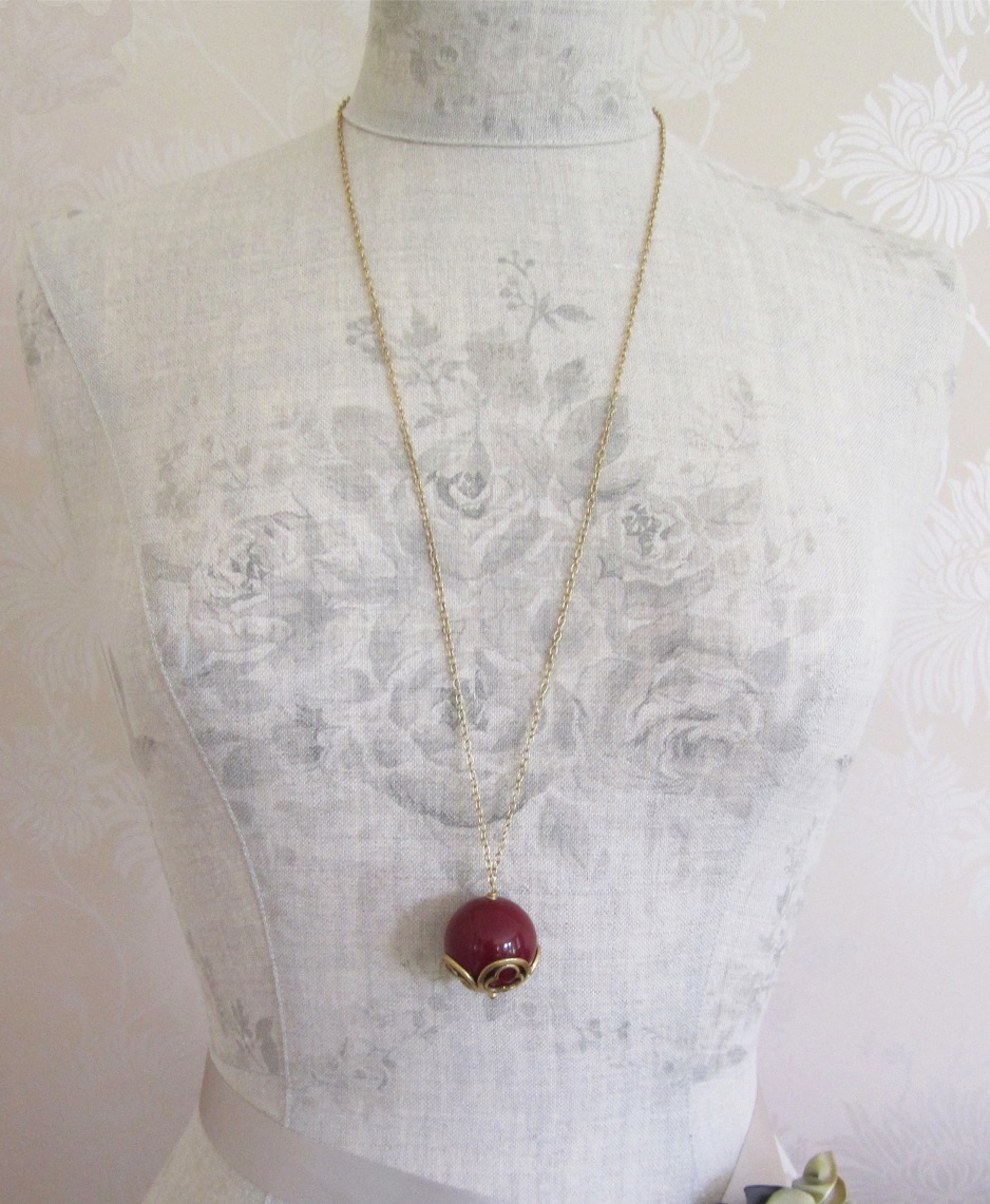 PILGRIM - Ball with a Twist - Long Length Necklace - Gold Plate/Burgundy BNWT