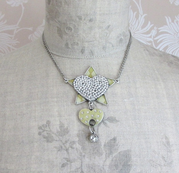 PILGRIM - HEART STAR & KEY - Heart & Star Necklace - Silver/Cream/Clear - BNWT