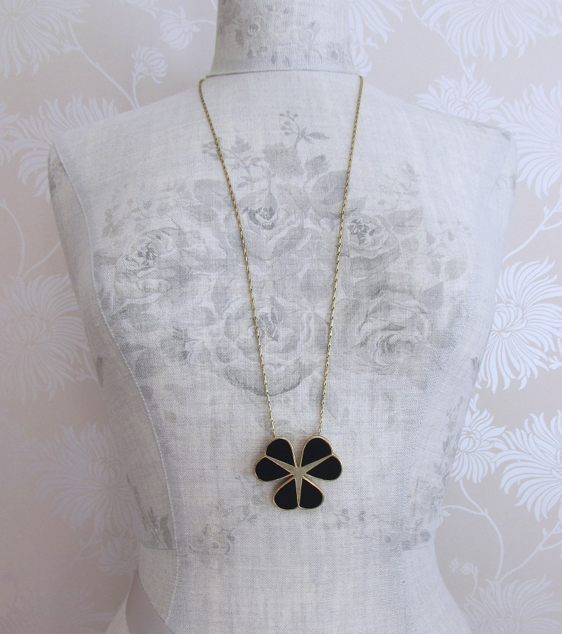 PILGRIM - Graphic Flower - Floral Row Necklace - Gold Plate/Black BNWT
