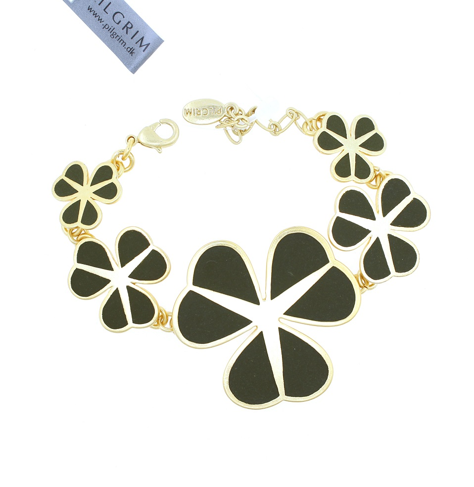 PILGRIM - Graphic Flower - Floral Row Bracelet - Gold Plate/Khaki Green BNWT