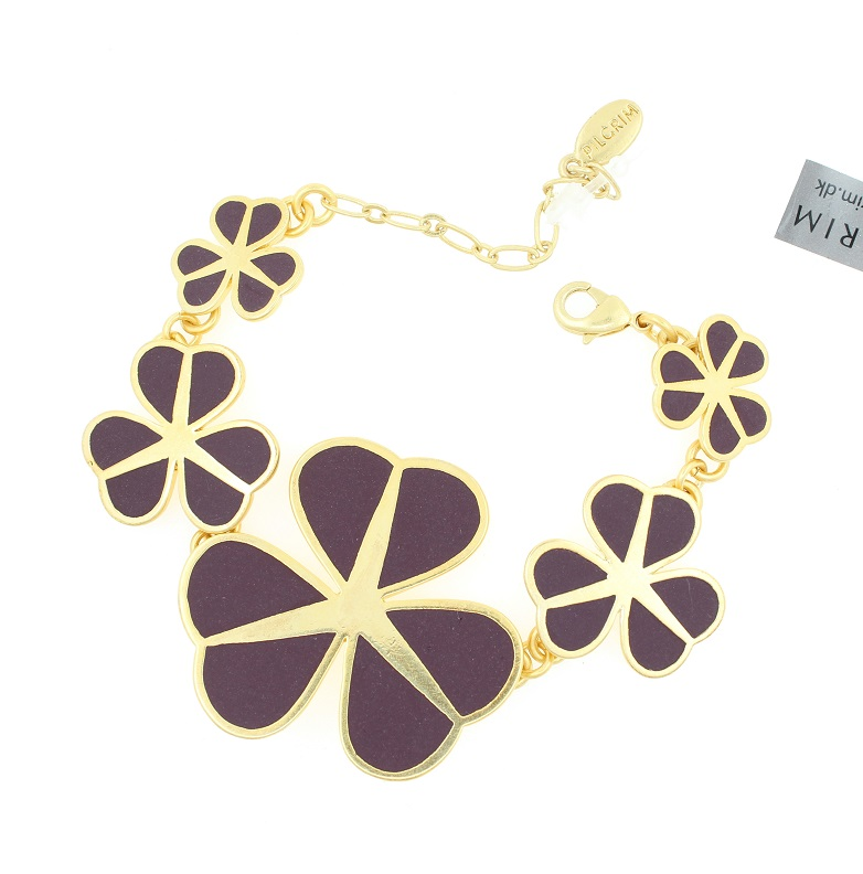 PILGRIM - Graphic Flower - Floral Row Bracelet - Gold Plate/Purple BNWT