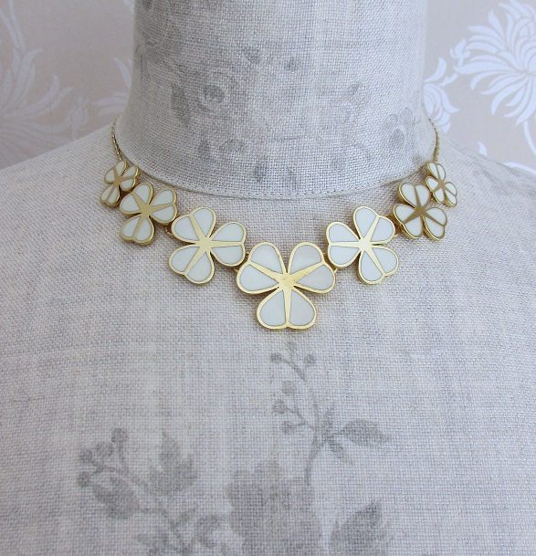 PILGRIM - Graphic Flower - Floral Row Necklace - Gold Plate/Cream BNWT