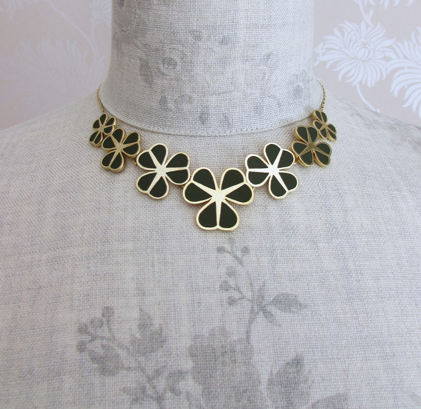 PILGRIM - Graphic Flower - Floral Row Necklace - Gold Plate/Khaki Green BNWT