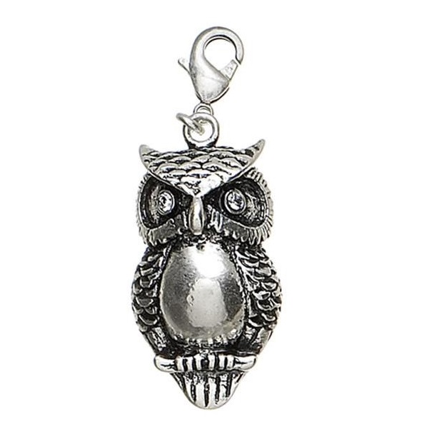 Pilgrim Charm - Silver & Clear Swarovski Owl - VINTAGE