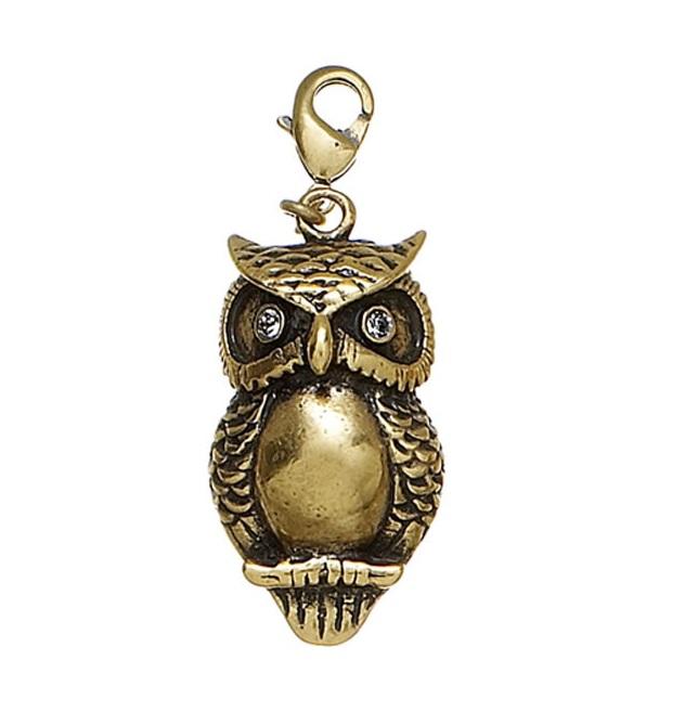 PILGRIM - Owl Charm - Gold Plate/Clear Swarovski BNWT