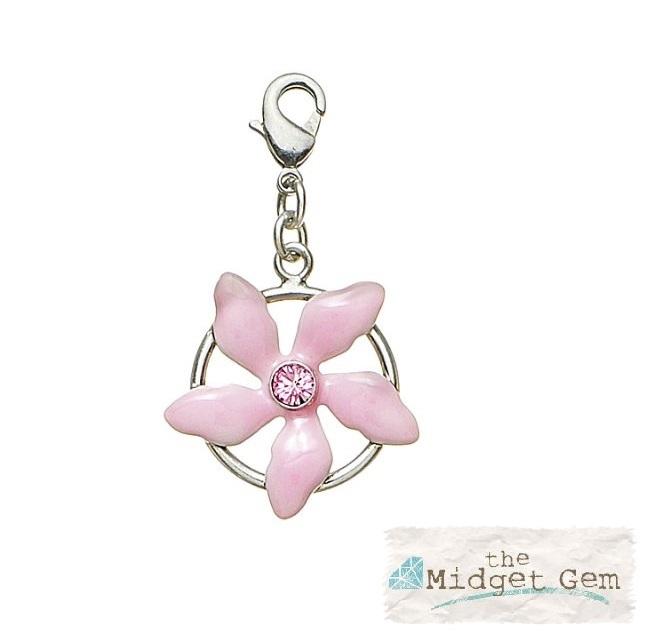 PILGRIM Clasp-On-Charm Flower Vintage Silver & Pink Enamel & Swarovski BNWT