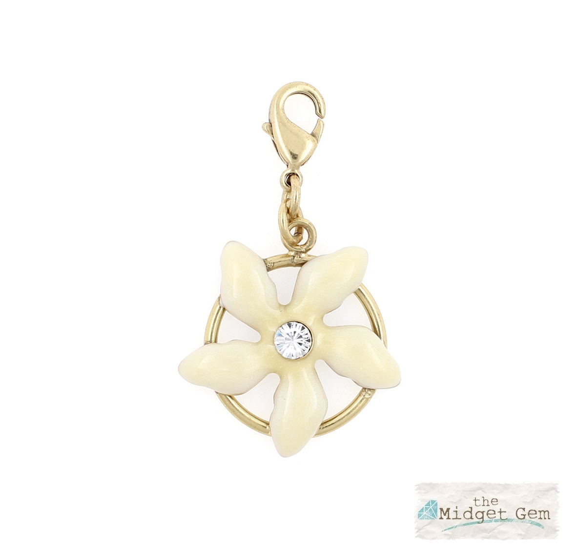PILGRIM Clasp-On-Charm Flower Gold & Cream Enamel & Swarovski BNWT