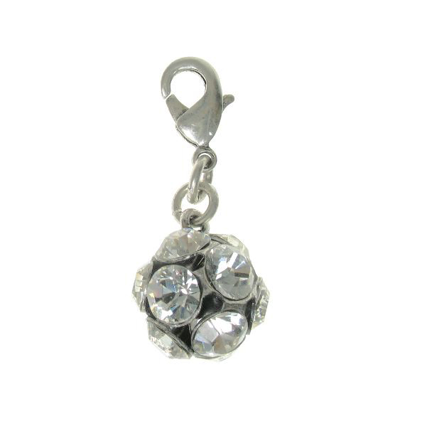 PILGRIM - Clasp on Charm -  Crystal Studded Ball - Silver/Clear BNWT