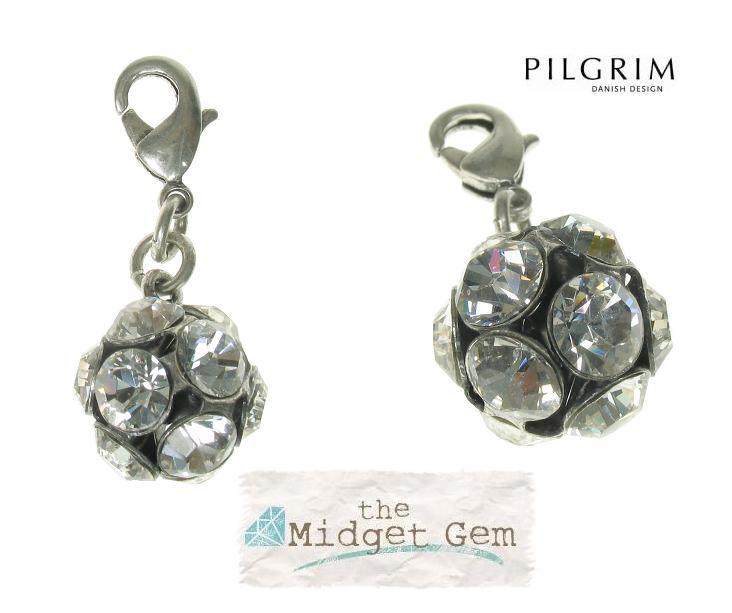 PILGRIM - Clasp on Charm -  Crystal Studded Ball - Silver/Clear BNWT