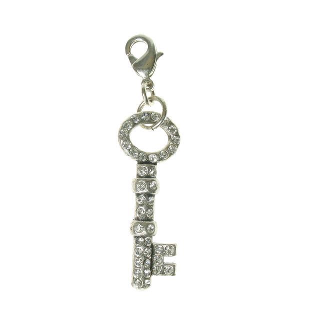 Pilgrim Charm - Small Swarovski Crystal Studded Key Clear/Silver Plate