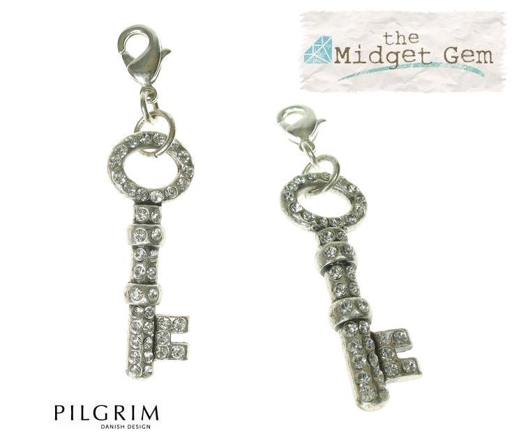 Pilgrim Charm - Small Swarovski Crystal Studded Key Clear/Silver Plate BNWT