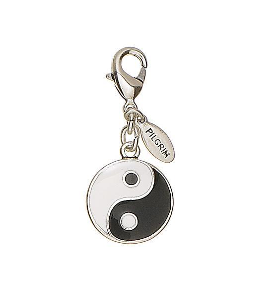 Pilgrim Charm Yin & Yang - Black/White/Silver