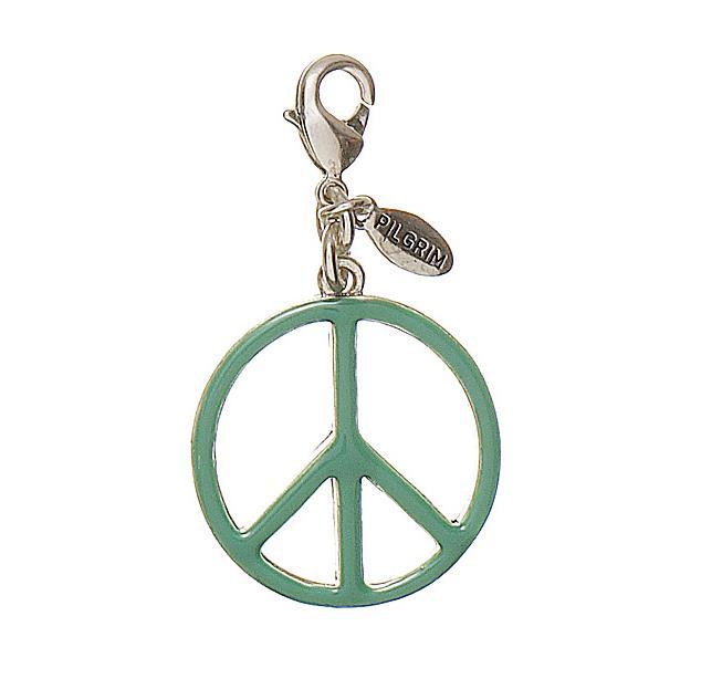 Pilgrim Charm - Peace Symbol - Silver /Green