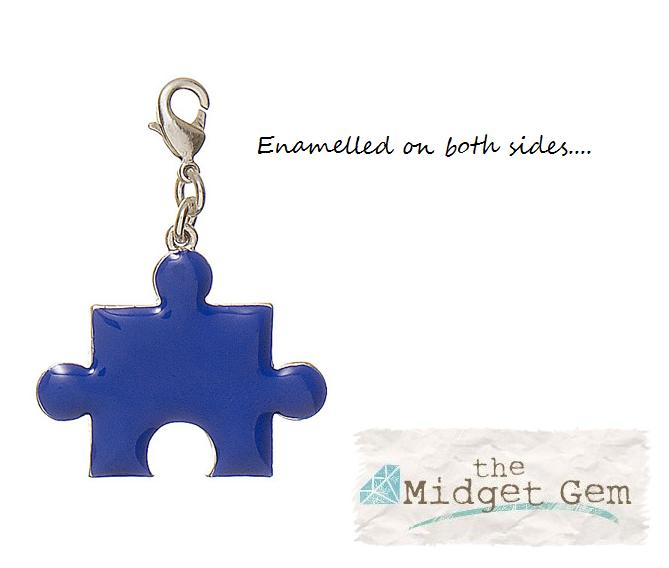 Pilgrim Charm - Jigsaw Puzzle Piece - Silver/Blue