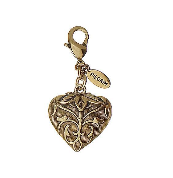 PILGRIM - Florentine Heart Charm - Champagne/Gold Plate BNWT