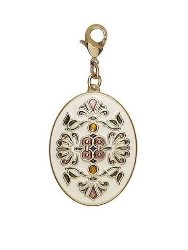 PILGRIM - Oval Enamel Locket Charm - Cream/Gold Plate BNWT