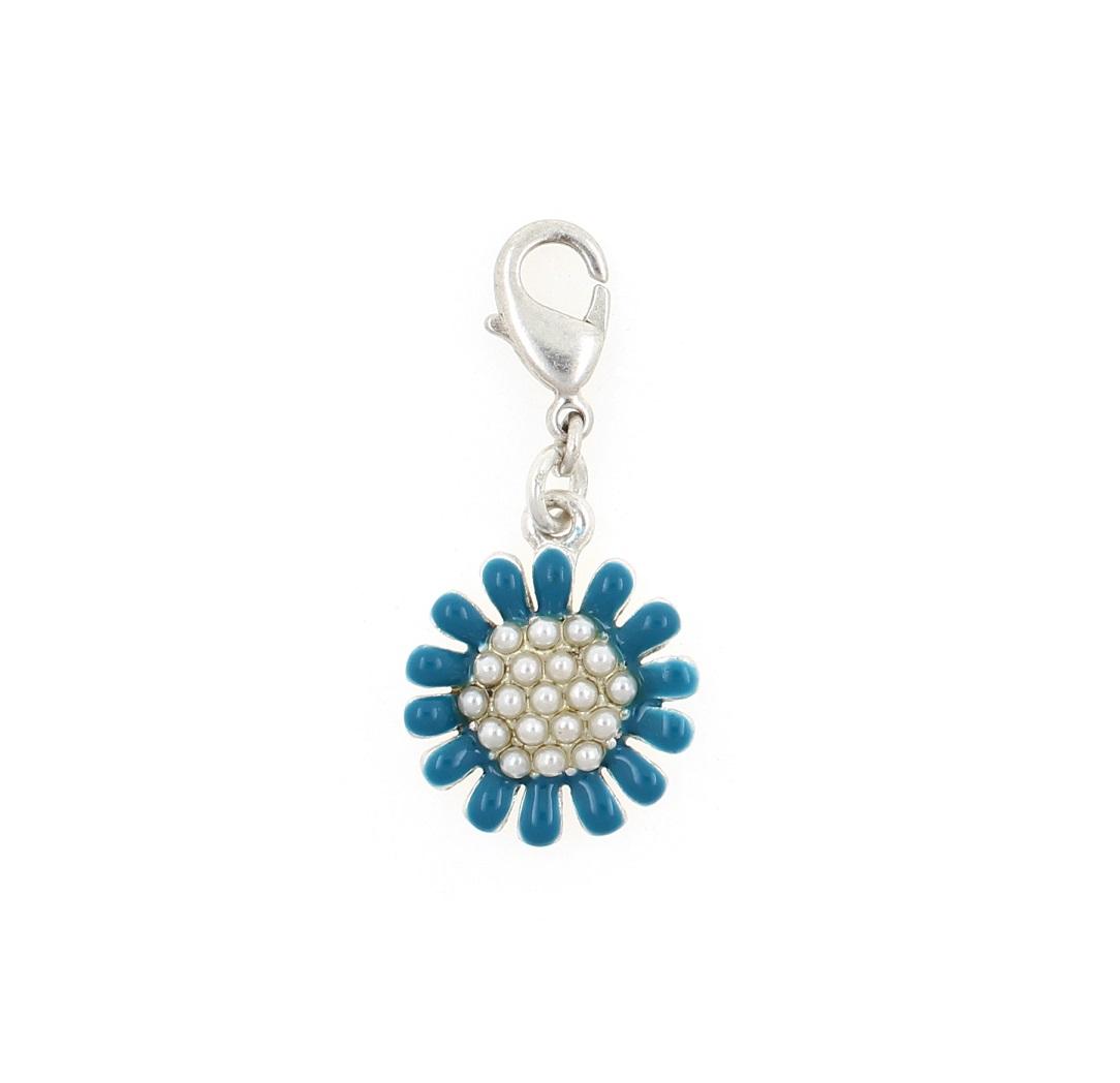 PILGRIM - Clasp on Charm - Blue Enamel & Silver Daisy Flower Charm BNWT