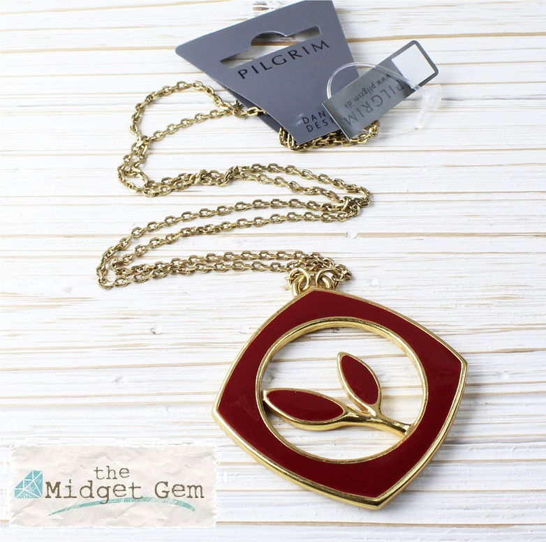 PILGRIM - Retro Elegance - Square Framed Leaf Necklace - Gold/Burgundy BNWT