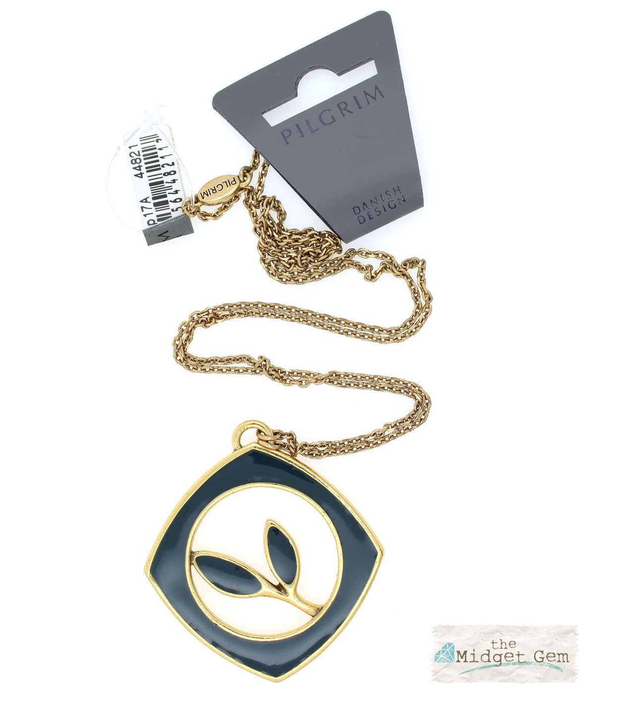 PILGRIM - Retro Elegance - Square Framed Leaf Necklace - Gold/Blue BNWT