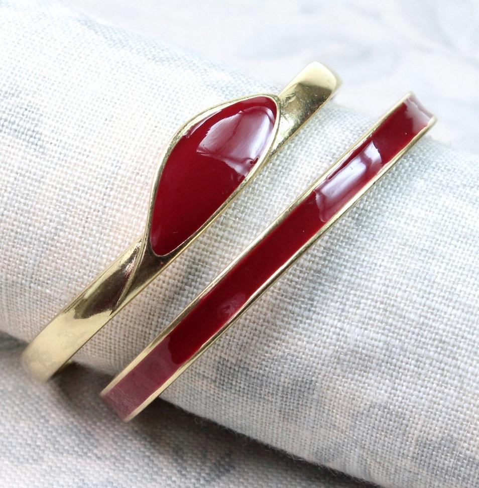PILGRIM - Retro Elegance - Double Bangle Bracelet - Burgundy Enamel/Gold BNWT
