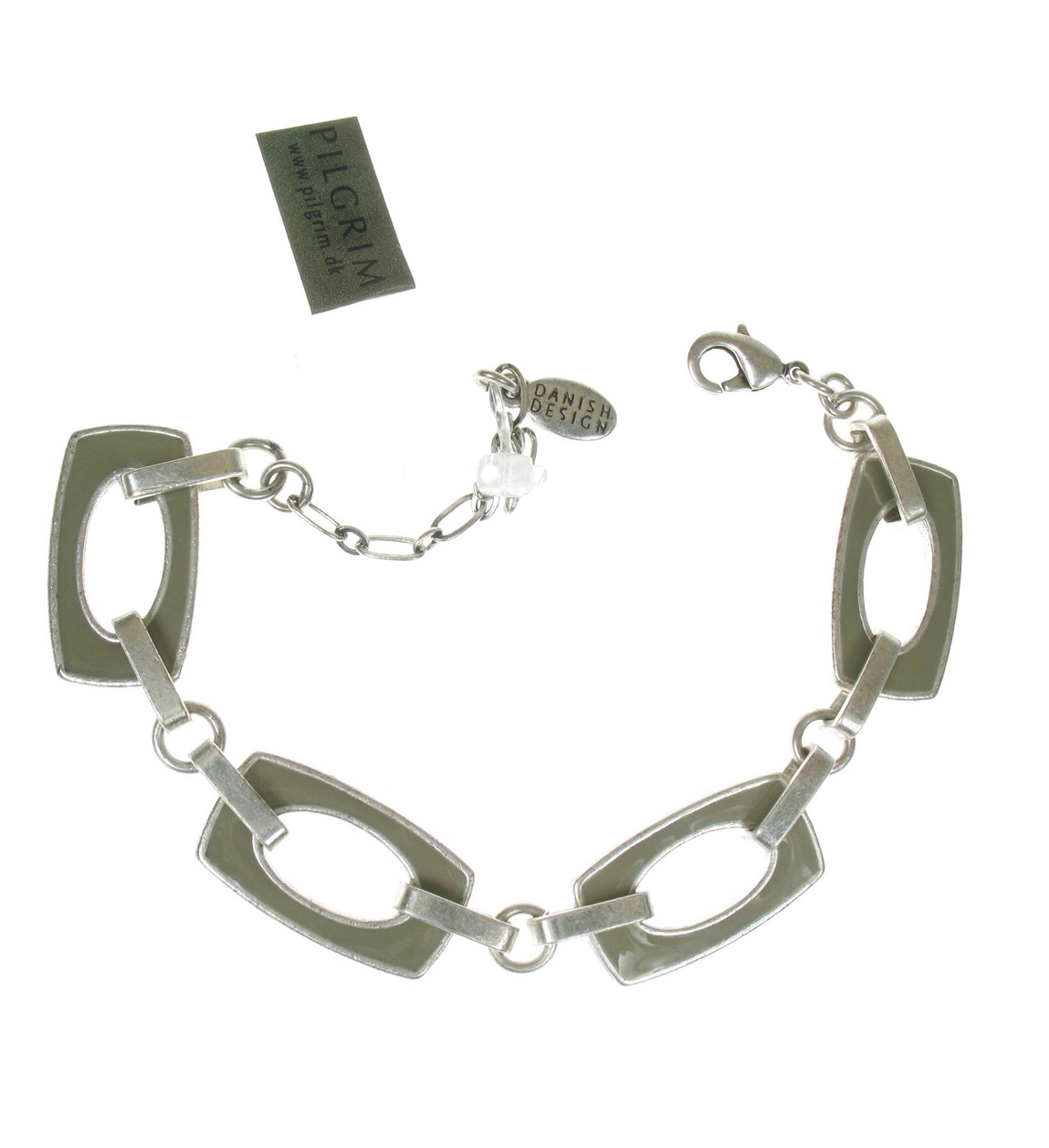 PILGRIM - Retro Elegance - Bracelet - Dove Grey Enamel/Silver BNWT