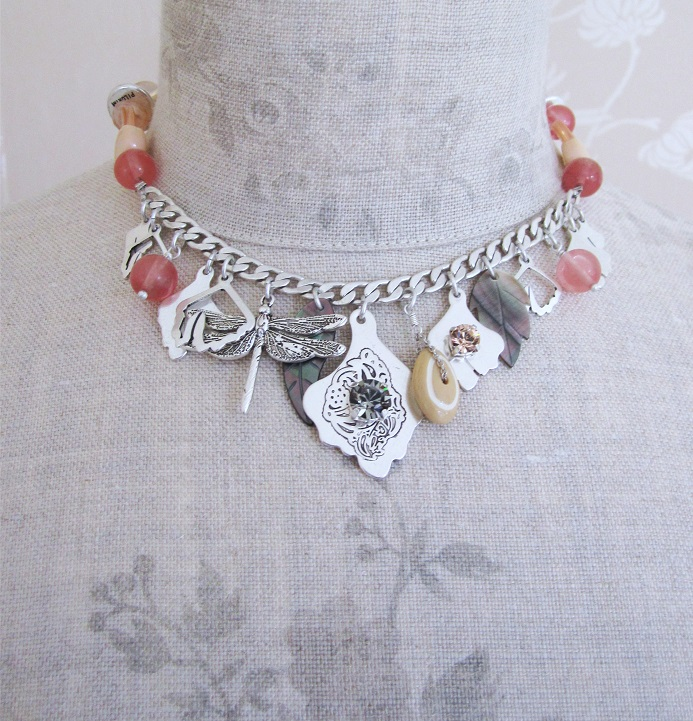 PILGRIM - Boho Nature - Charm & Bead Necklace - Silver/Pink BNWT