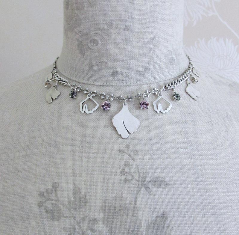 PILGRIM - Boho Nature - Charm Necklace - Silver/Pink BNWT