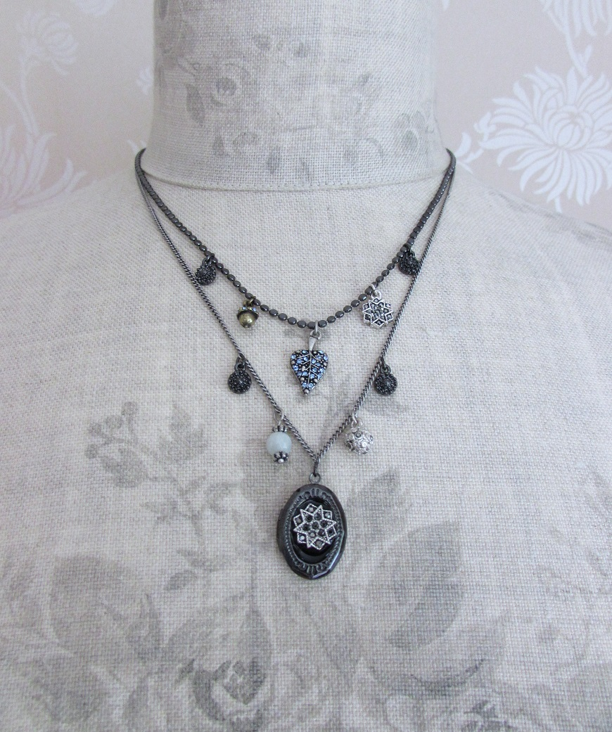 PILGRIM - Bohemian Rhapsody - Double Strand Locket Charm Necklace - Multi-Silver Plate/Blue BNWT