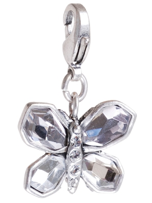 A & C 'Sweet Butterfly' Clear & Grey Crystal Charm Silver Plate