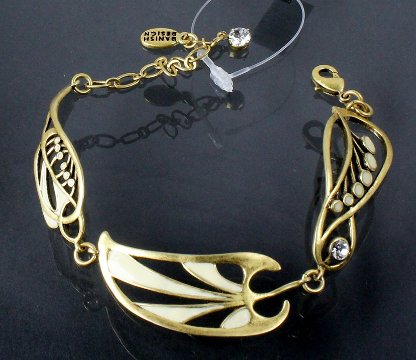 PILGRIM - Nouveau - Adjustable Bracelet Gold/Cream/Clear Swarovski Crystals BNWT